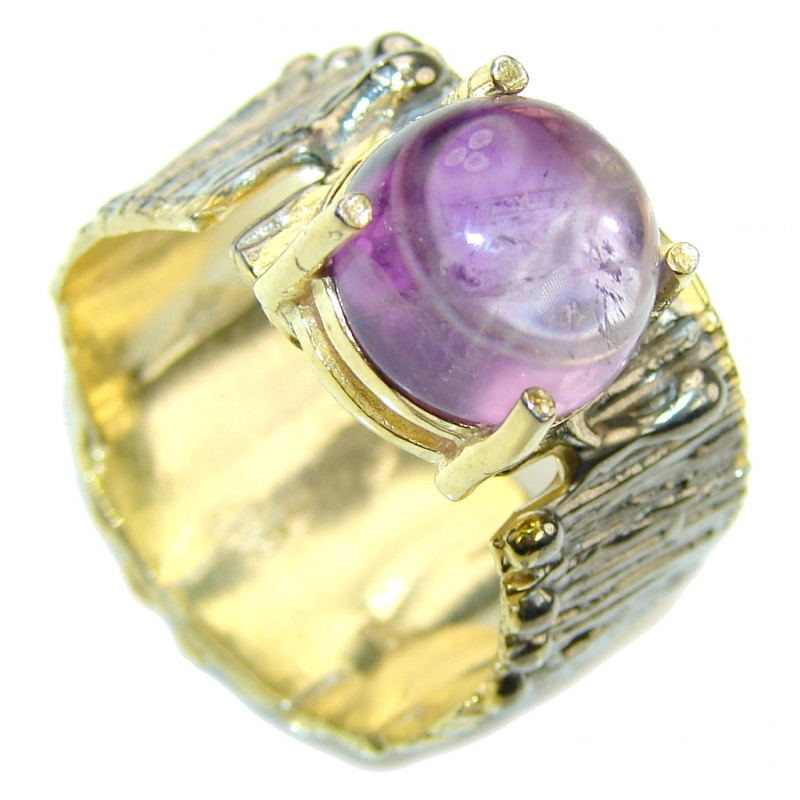 Precious Purple Amethyst, Two Tones Sterling Silver Ring s. 9