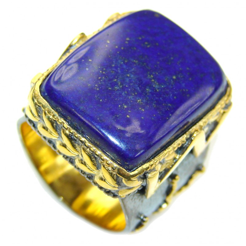 Natural Blue Lapis Lazuli Two Tones Sterling Silver Ring s. 8 1/2
