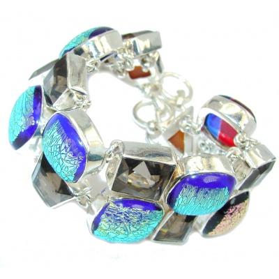 Fashion Mexican Dichroid Glass Sterling Silver Bracelet
