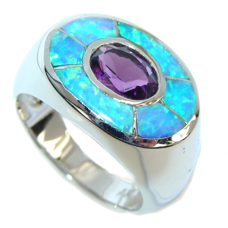 True Emotion! Japanese Opal Amethyst Sterling Silver Ring s. 7