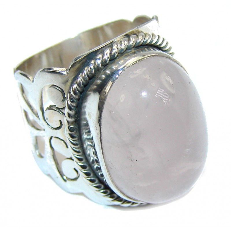 Amazing Rose Quartz Sterling Silver Ring s. 6 1/4