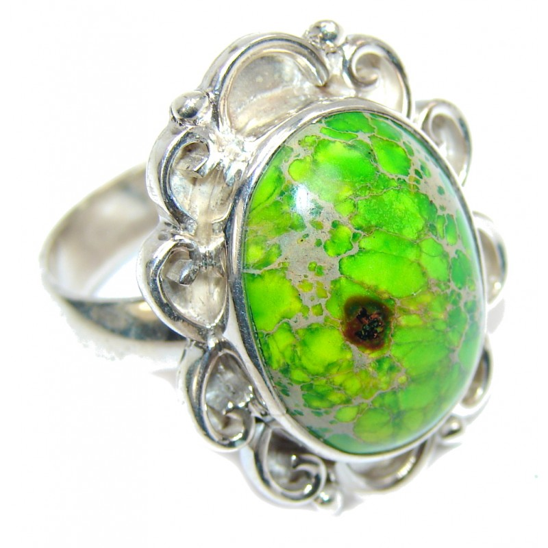 Green Sea Sediment Jasper Sterling Silver Ring s. 9 1/4