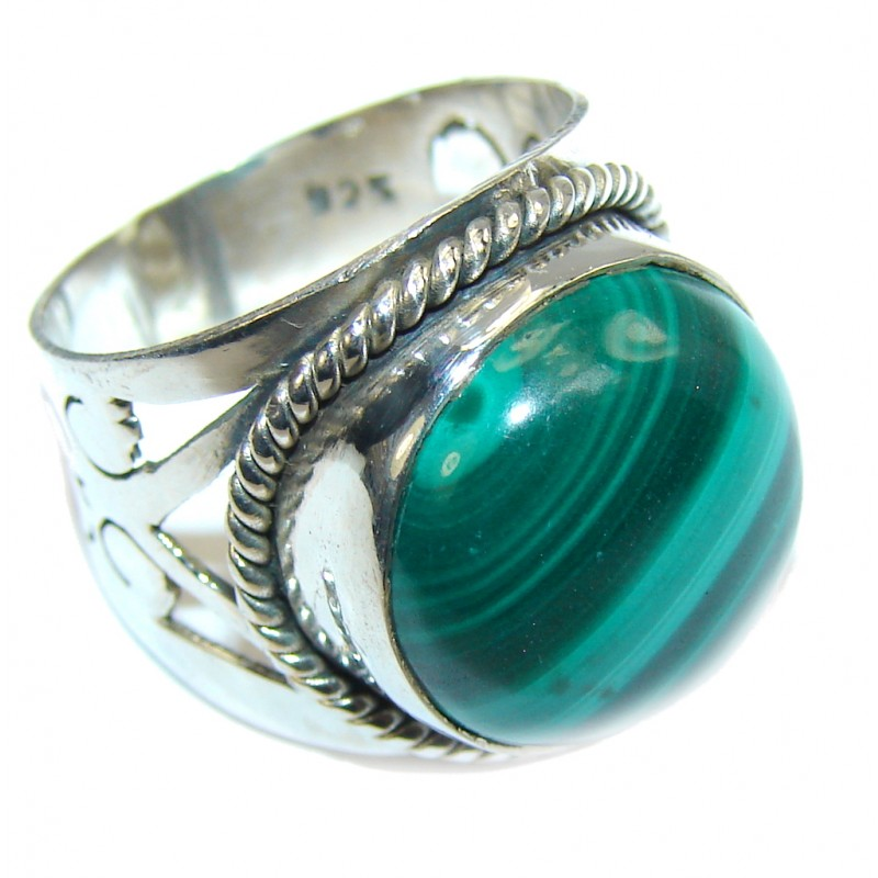 Amazing Green Malachite Sterling Silver ring s. 6 1/4