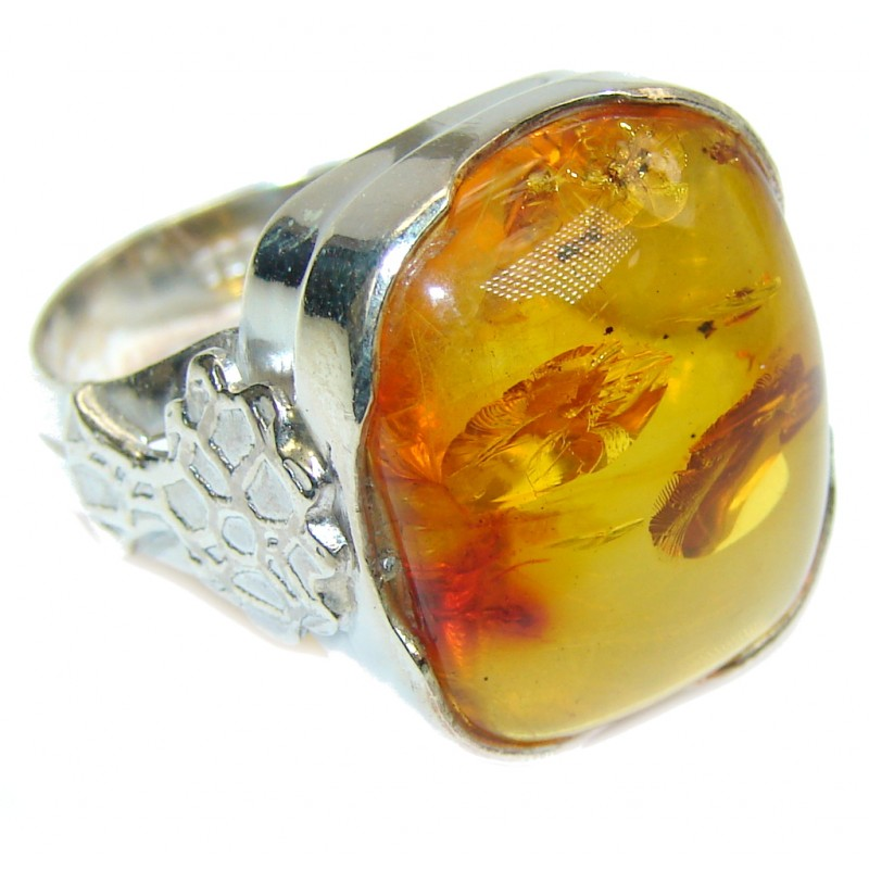 Honey Natural AAA Baltic Polish Amber Sterling Silver Ring s. 9