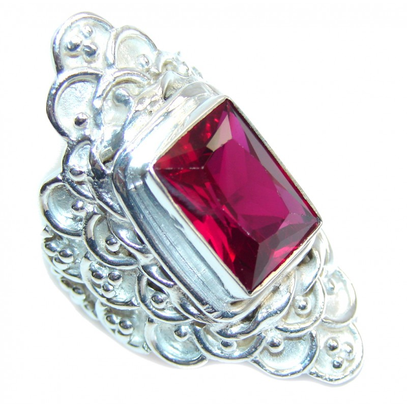 Big! Amazing Raspberry Quartz Silver Overlay Ring s. 8