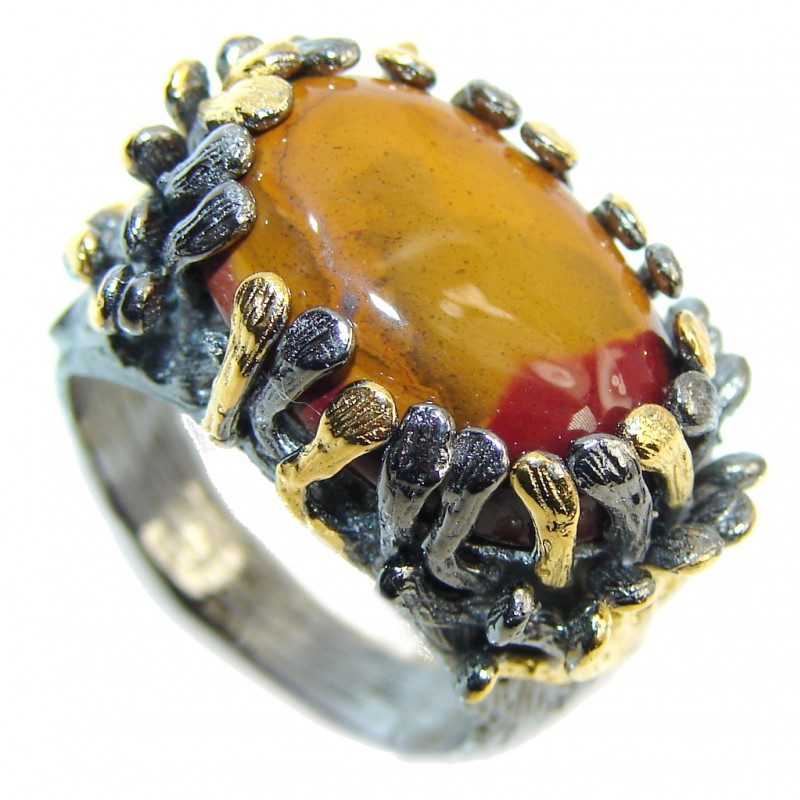 Gorgeous Style AAA Mookaite Jasper, Gold Plated, Rhodium Plated Sterling Silver Ring s. 8