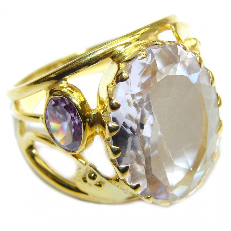 Amazing Light Lilac Quartz Gold Plated Sterling Silver ring s. 8