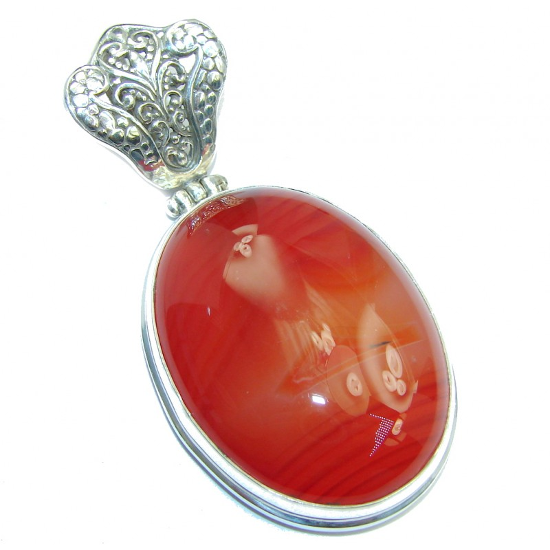 Simple & Sublime Orange Carnelian Sterling Silver Pendant