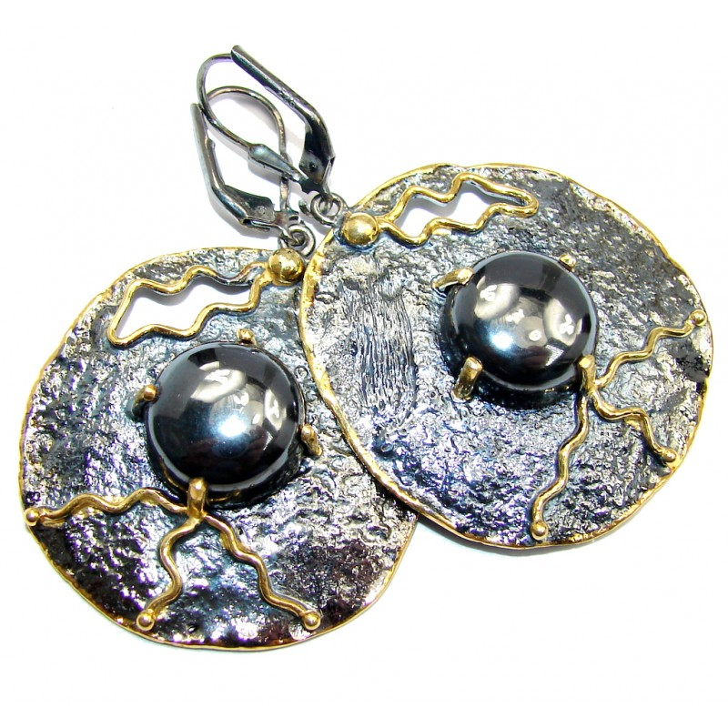 Perfect Silver Hematite Rhodium Gold over Sterling Silver earrings