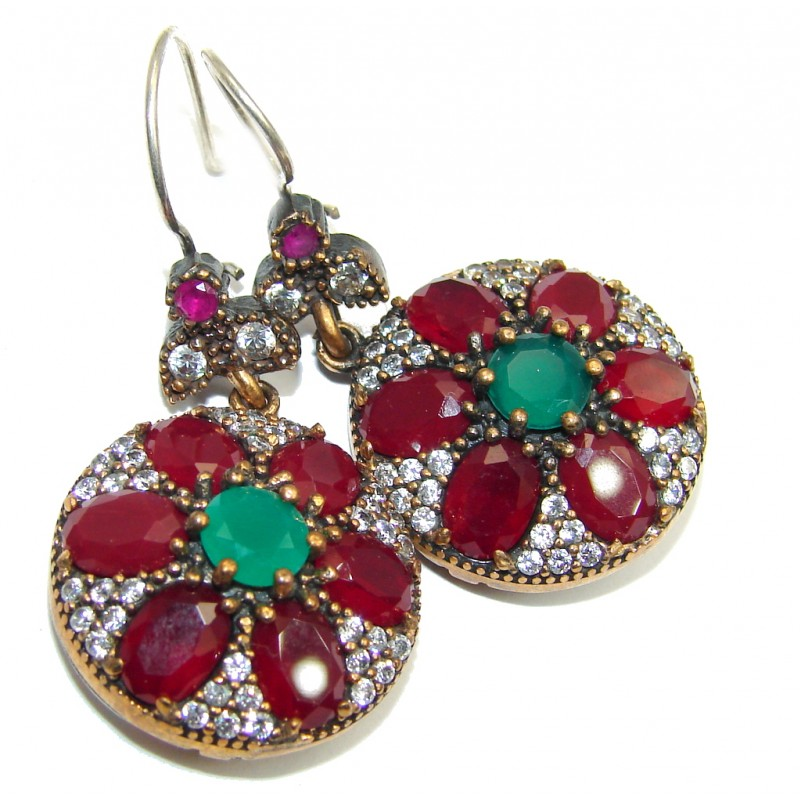 Victorian Style Ruby Sterling Silver earrings