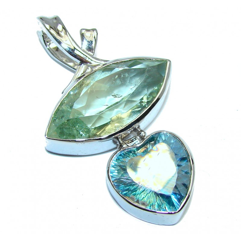 Sublime Green Amethyst Magic Topaz Sterling Silver Pendant