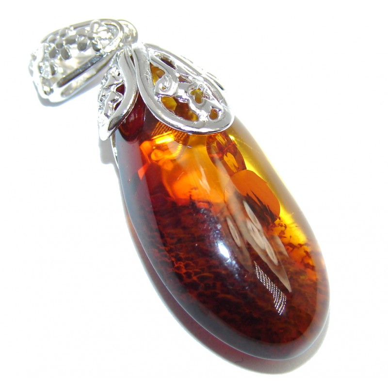 Unusual Cognac Polish Amber Sterling Silver Pendant