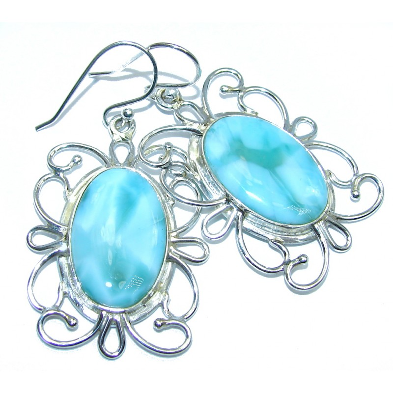 Vintage Style AAA Blue Larimar Sterling Silver earrings