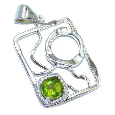 Modern Concept Genuine Green Peridot Sterling Silver Pendant