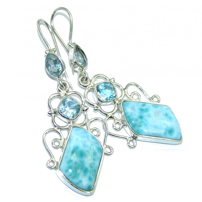 True Caribbean Beauty AAA Blue Larimar Bali Handmade Sterling Silver earrings