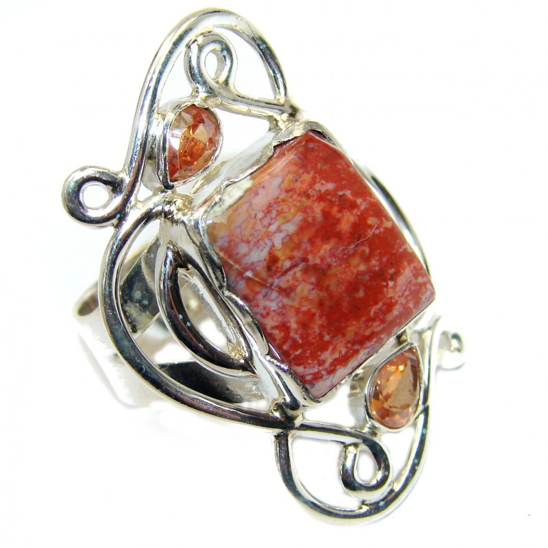 Vintage Style Perfect Red Jasper Sterling Silver Ring s. 9