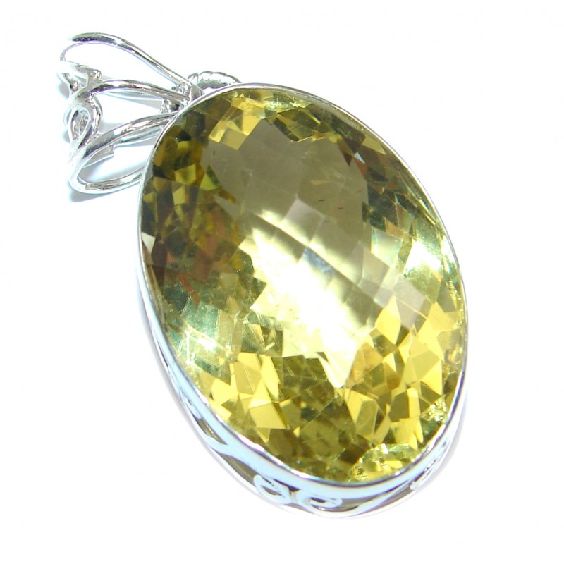Faceted Citrine Sterling Silver Pendant