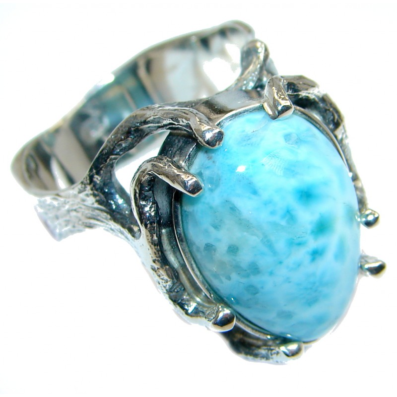 Genuine Larimar Oxidized Sterling Silver handmade Ring size 9