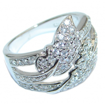 Princes Style White Topaz Sterling Silver ring; s. 7
