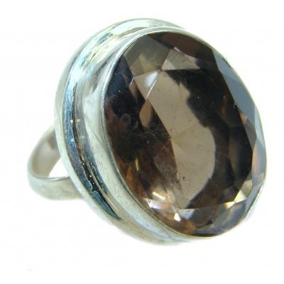 Huge Smoky Topaz .925 Sterling Silver Statement ring s. 6 3/4