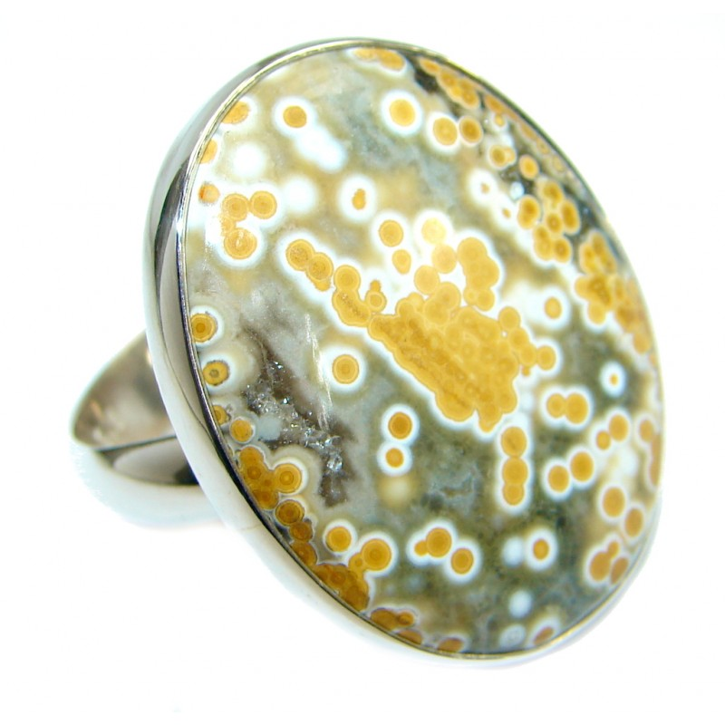 Exotic Ocean Jasper .925 Sterling Silver Ring s. 7 adjustable