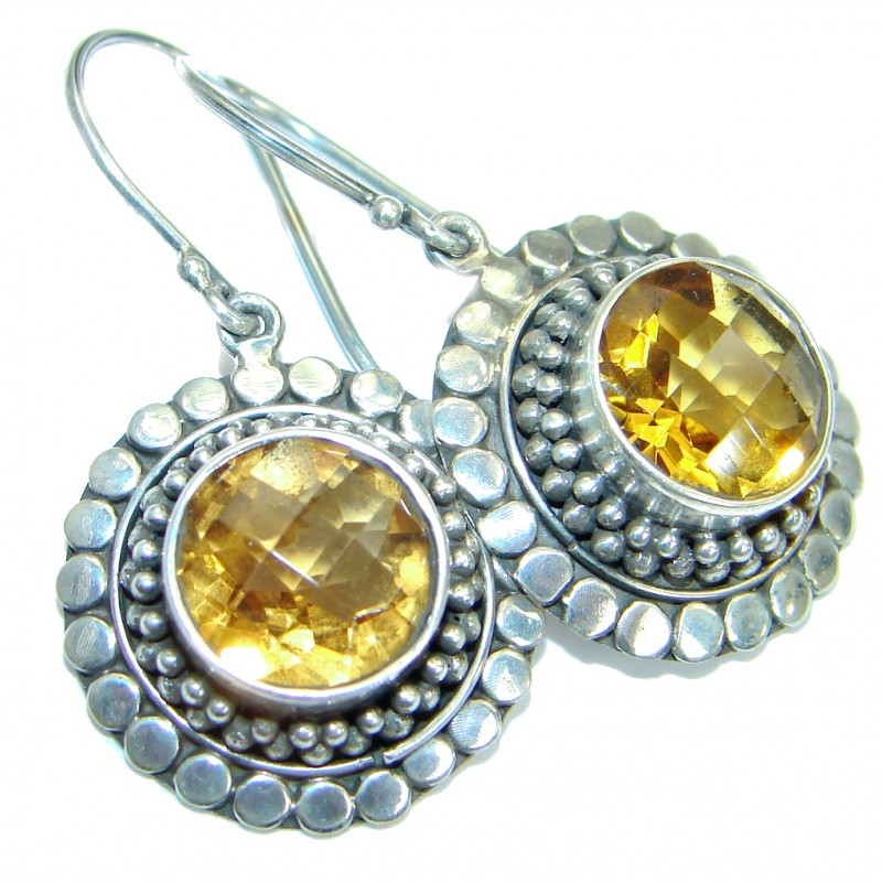 Authentic Citrine 14K gold over .925 Sterling Silver handmade earrings