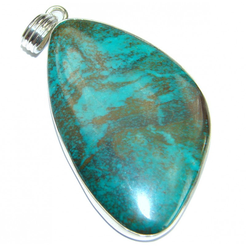 Black Spider's Web Turquoise with copper vains .925 Sterling Silver Pendant