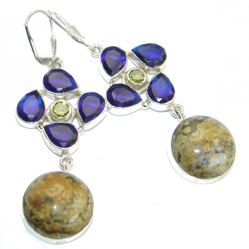 Bohemian Style Ocean Jasper .925 Sterling Silver handcrafted Earrings