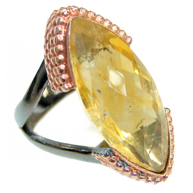 Vintage Style 55 CT Citrine .925 Sterling Silver handmade Cocktail Ring s. 8