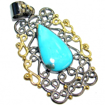 Exquisite Sleeping Beauty Turquoise Rose Gold Rhodium over .925 Sterling Silver handmade Pendant