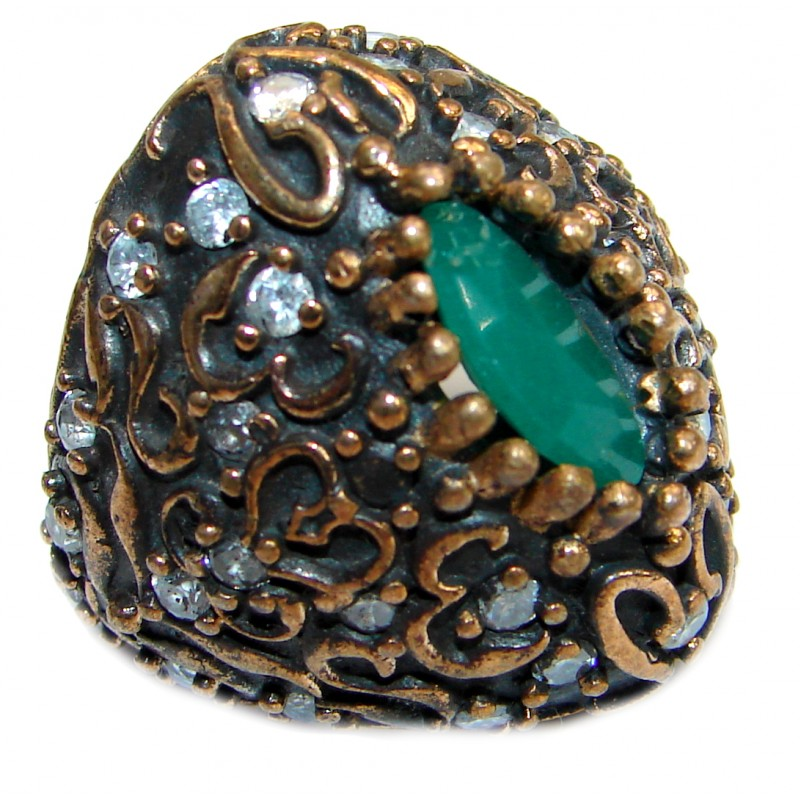 Victorian Style created Emerald & White Topaz Copper over Sterling Silver ring; s. 6