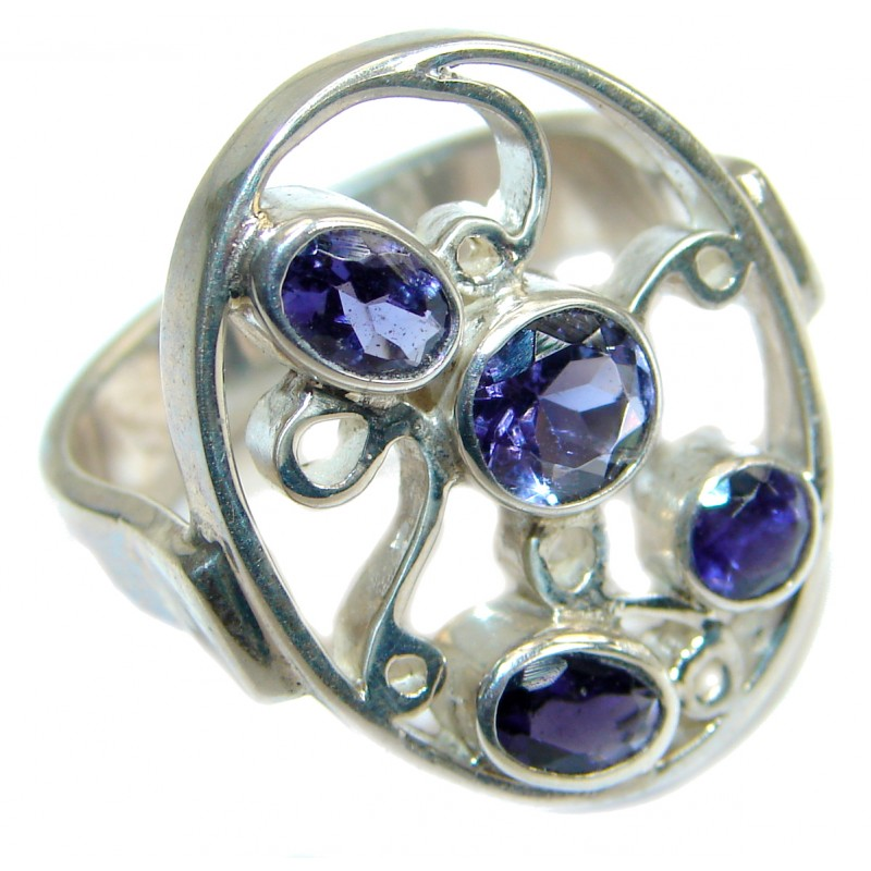 Huge Amethyst .925 Sterling Silver handmade Cocktail Ring s. 7 1/2