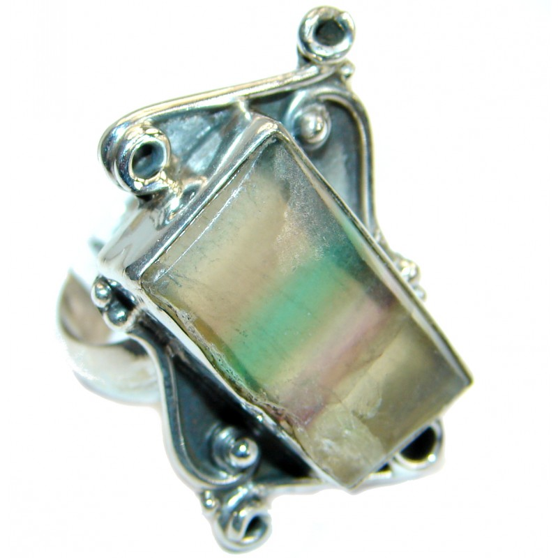 Natural Fluorite Sterling Silver ring s. 10