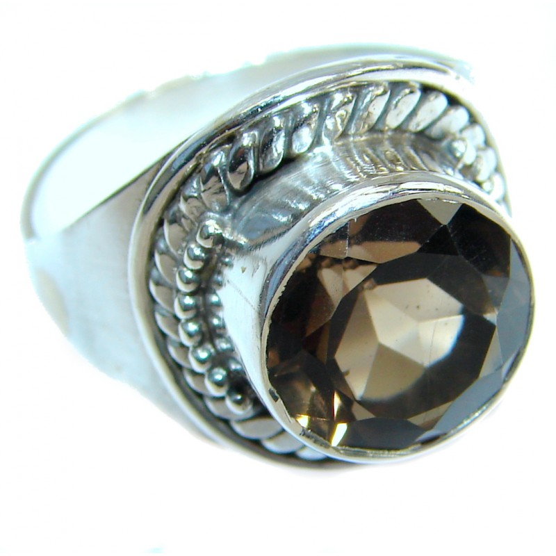 Huge Smoky Topaz .925 Sterling Silver Statement ring s. 7 1/4