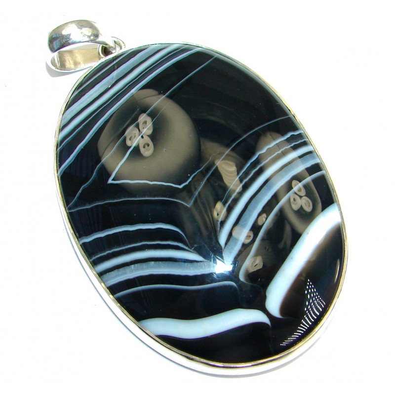 Black and White great quality Botswana Agate .925 Sterling Silver handcrafted Pendant