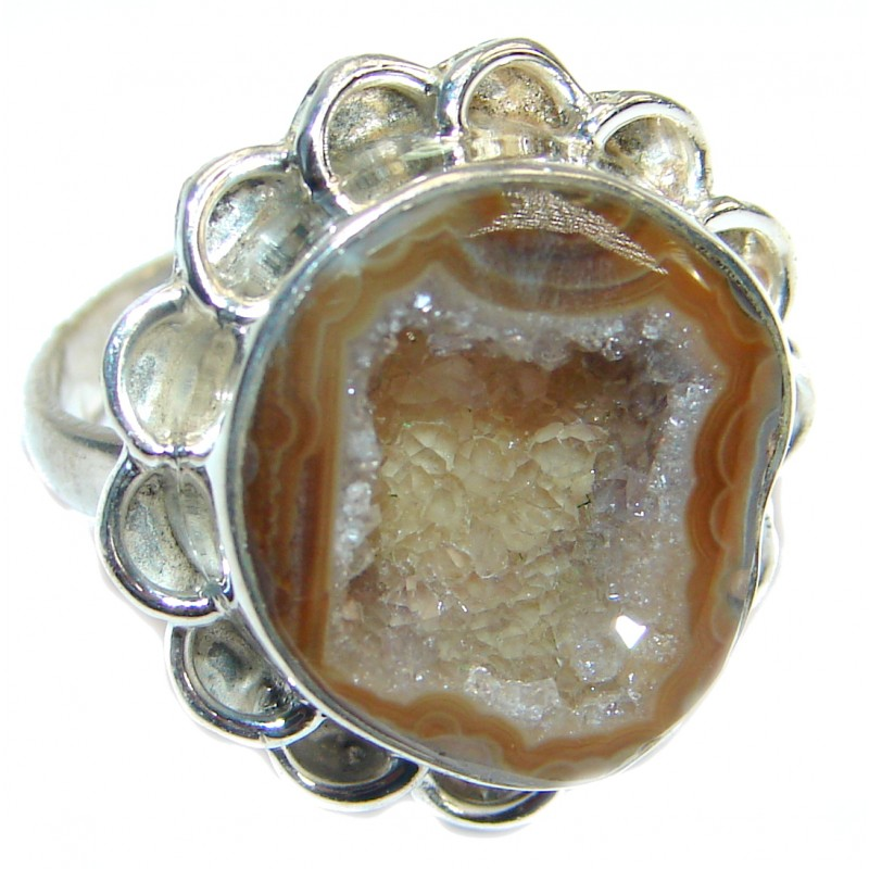 Sahara's Sand Druzy Agate .925 Silver handcrafted Ring s. 6