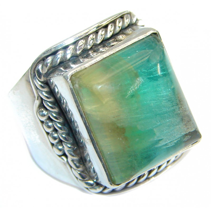 Natural Fluorite Sterling Silver ring s. 6 1/4