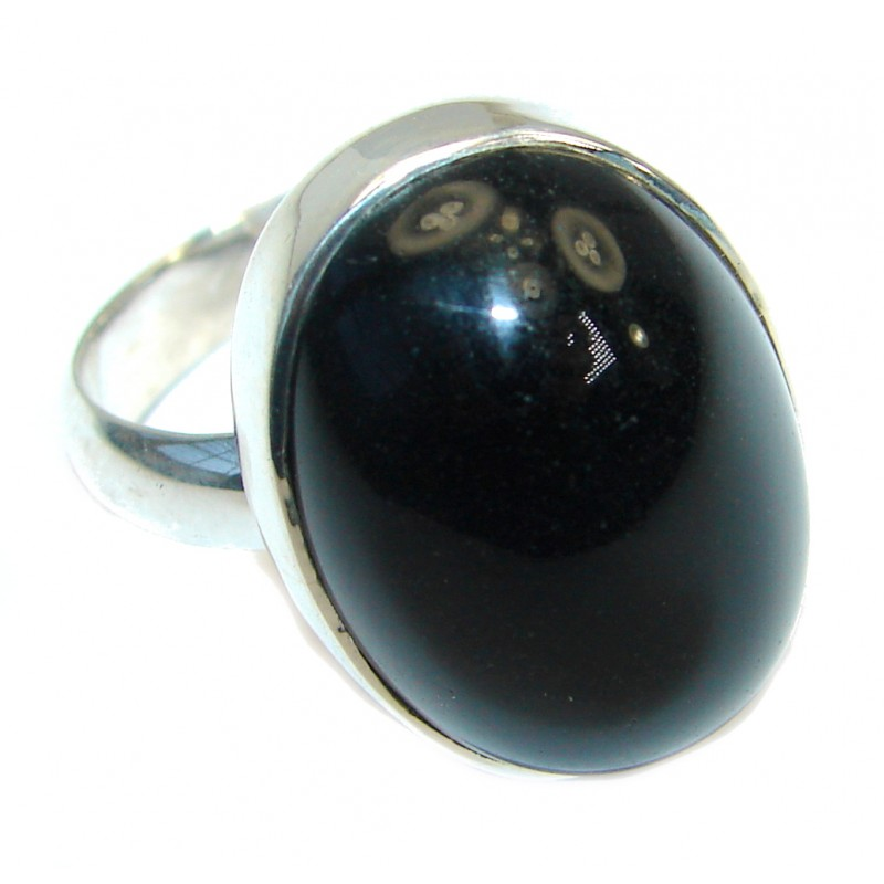 Majestic Authentic Onyx .925 Sterling Silver handmade Ring s. 7 adjustable
