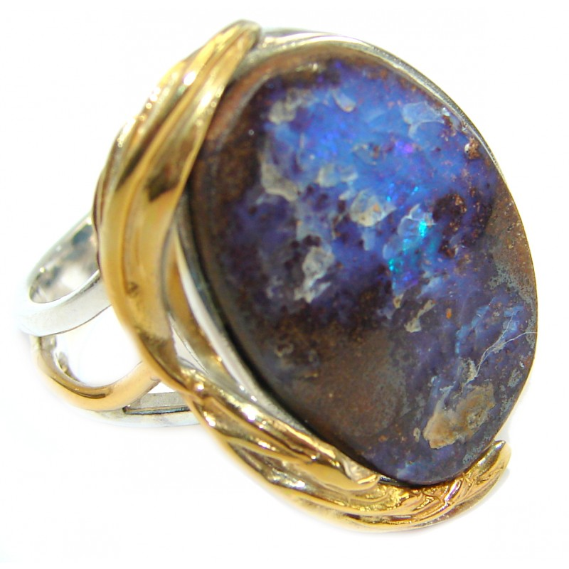 Great quality Boulder Opal .925 Sterling Silver hancrafted Ring s. 7 adjustable