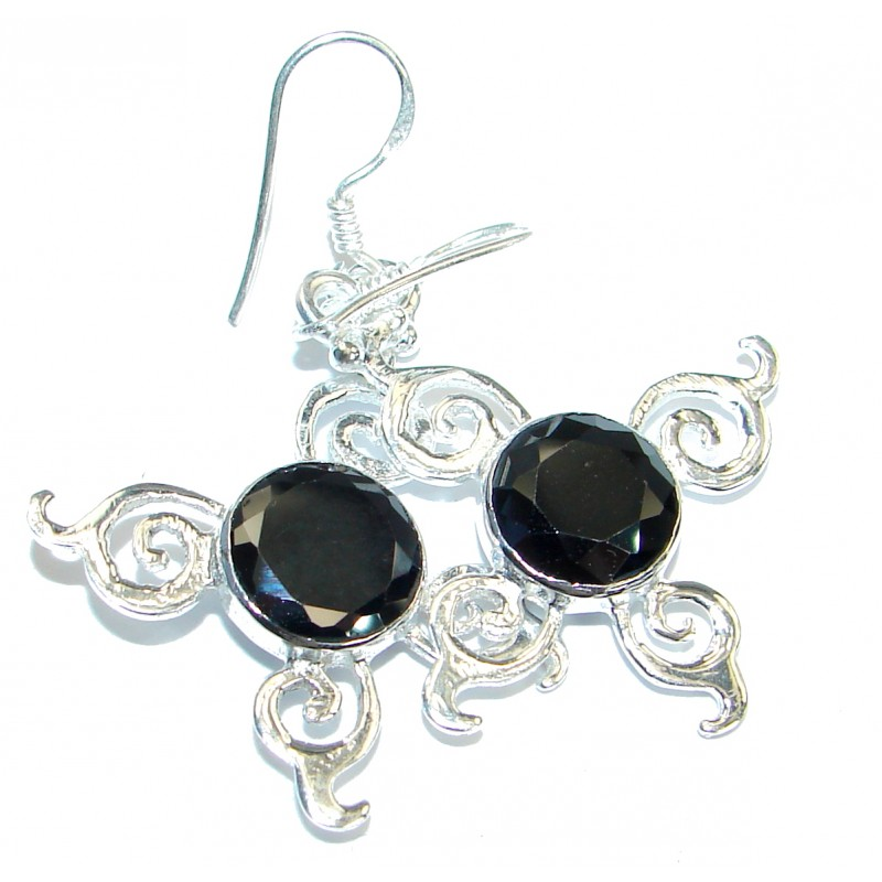 Perfect Aura Black Onyx Silver Tone earrings