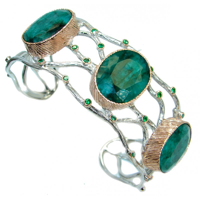 One in the World Natural Emerald Gold over .925 Sterling Silver Bracelet / Cuff