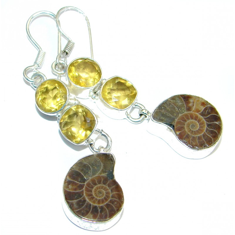 Handcrafted Ammonite Fossil Sterling Silver earrings