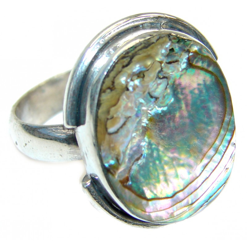 Authentic Rainbow Abalone Sterling Silver handmade Ring s. 10