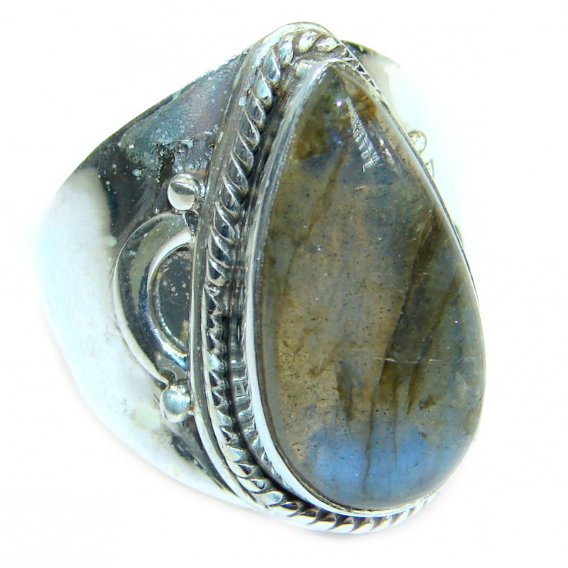 Huge Fire Labradorite .925 Sterling Silver handmade ring size 8 3/4