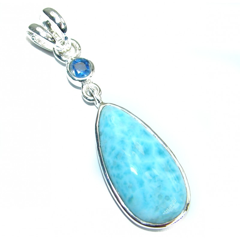 Blue Treasure genuine Larimar .925 Sterling Silver handmade pendant