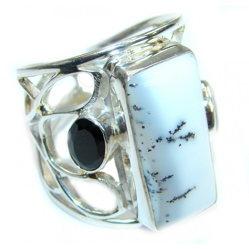 Dendritic Agate .925 Sterling Silver hancrafted Ring s. 8