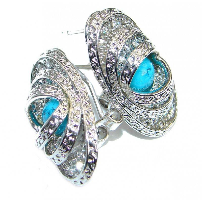 Sublime Blue Turquoise .925 Sterling Silver earrings