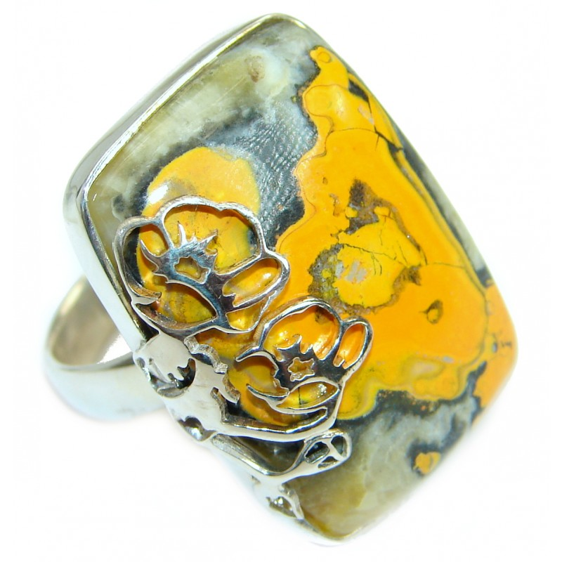 Vivid Beauty Bumble Bee Jasper .925 Sterling Silver ring s. 7 3/4