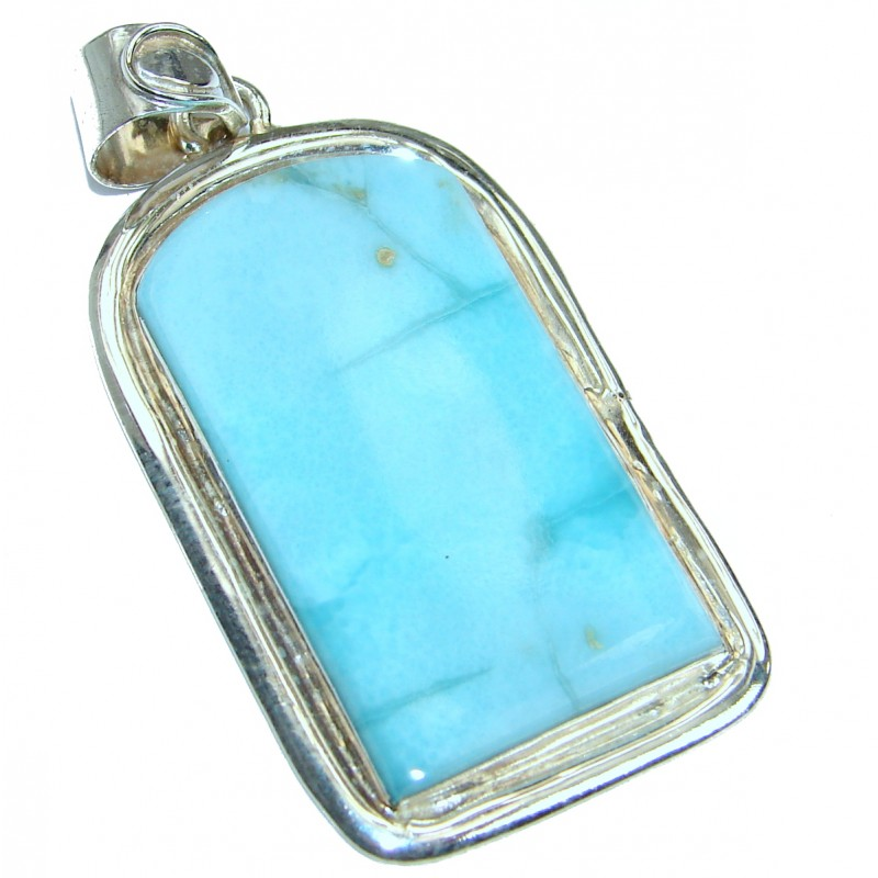 Simple Design Larimar .925 Sterling Silver handmade pendant