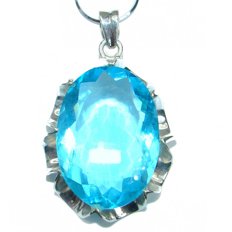 Great Swiss Blue Topaz color Quartz .925 Sterling Silver handmade necklace